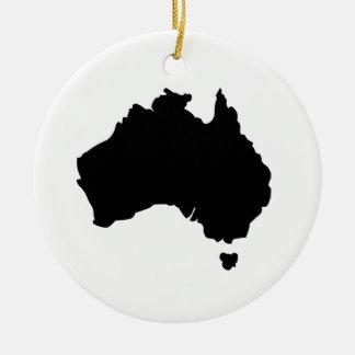 Mapa de Australia Adorno Navideño Redondo De Cerámica