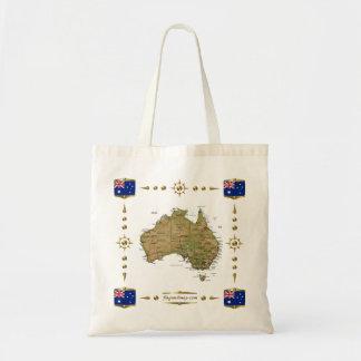 Mapa de Australia + Bolso de las banderas Bolsas