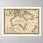 Mapa de Australia dibujado por Adrien Huberto Brue Poster