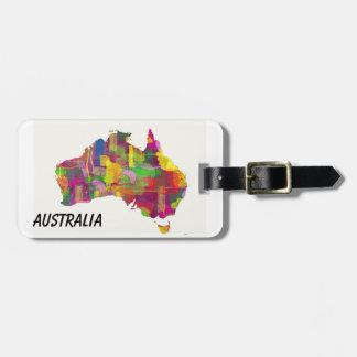 MAPA DE AUSTRALIA - etiqueta del equipaje Etiquetas Bolsa