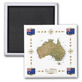 Mapa de Australia + Imán de las banderas