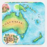 Mapa de Australia Calcomania Cuadradas Personalizada