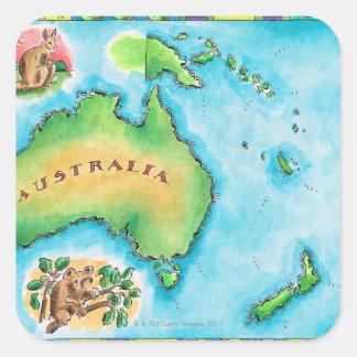 Mapa de Australia Pegatina Cuadrada