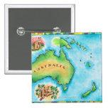 Mapa de Australia Pin Cuadrado