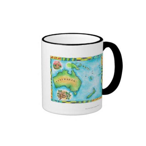 Mapa de Australia Tazas De Café