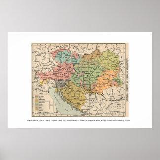 mapa de Austria Hungría 1911 Póster