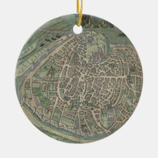 "Mapa de Aviñón, de ""Civitates Orbis Terrarum"" Adorno Redondo De Cerámica"