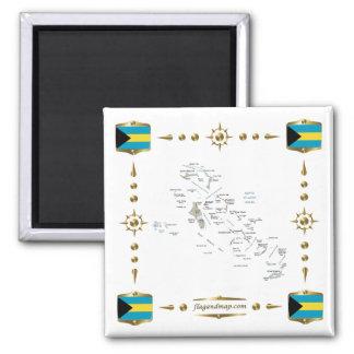 Mapa de Bahamas + Imán de las banderas