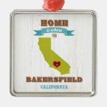 Mapa de Bakersfield, California - casero es donde Adorno Navideño Cuadrado De Metal