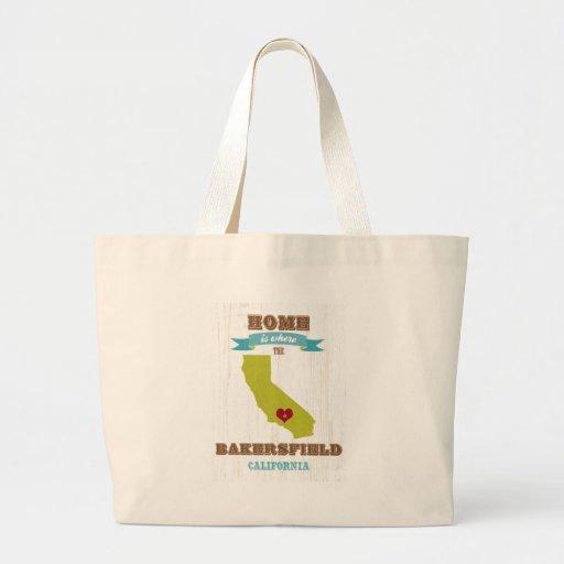 Mapa de Bakersfield, California - casero es donde Bolsa Tela Grande