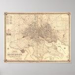 Mapa de Baltimore 1851 Poster
