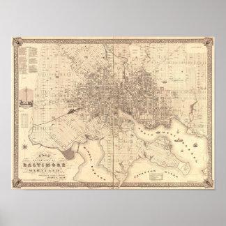 Mapa de Baltimore 1851 Póster