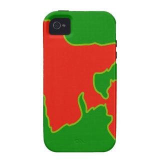 Mapa de Bangladesh con en colores rojos y verdes Case-Mate iPhone 4 Carcasas