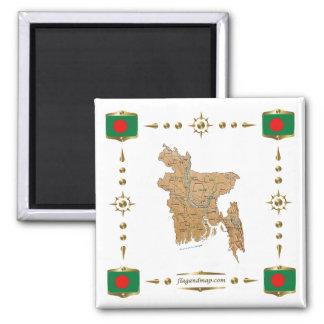 Mapa de Bangladesh + Imán de las banderas