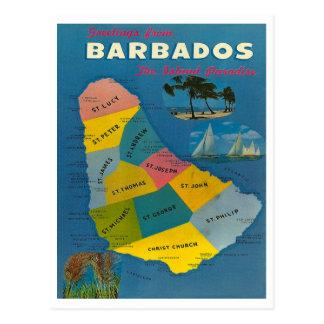Mapa de Barbados del vintage Postales