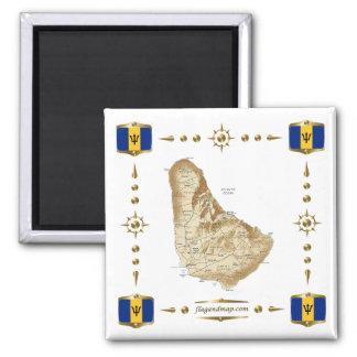 Mapa de Barbados + Imán de las banderas