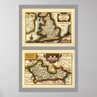 """Mapa de """"Barkshire"""" el condado de Berkshire, Ingla Impresiones"""