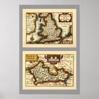 """Mapa de """"Barkshire"""" el condado de Berkshire, Ingla Posters"""