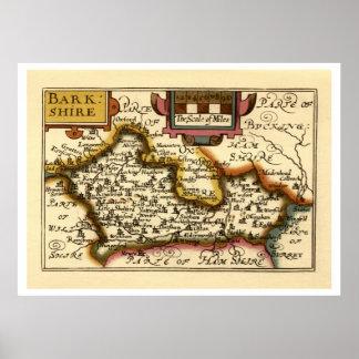 """Mapa de """"Barkshire"""" el condado de Berkshire, Ingla Poster"""