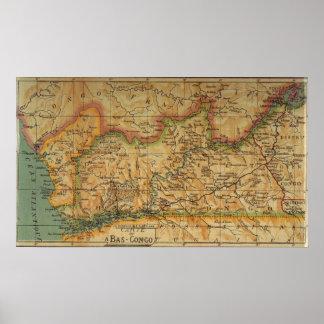 Mapa de Bas Congo - Congo Belga 1913 Poster