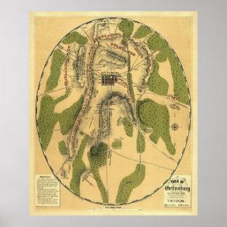 Mapa de batalla de Gettysburg 1863 - guerra civil Posters