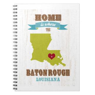 Mapa de Baton Rouge, Luisiana - casero es donde Cuaderno