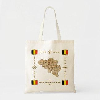 Mapa de Bélgica + Bolso de las banderas Bolsa Tela Barata