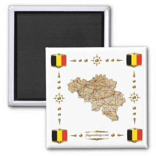 Mapa de Bélgica + Imán de las banderas