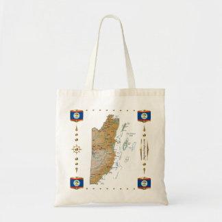 Mapa de Belice + Bolso de las banderas Bolsas
