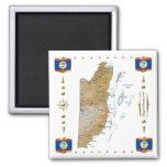 Mapa de Belice + Imán de las banderas
