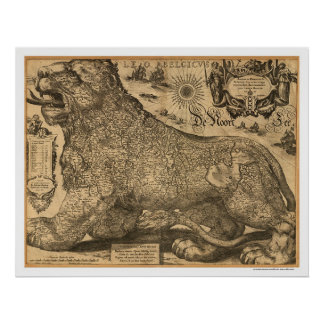 Mapa de Benelux Leo Belgicus de Europa 1611 Posters