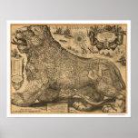 Mapa de Benelux Leo Belgicus de Europa 1611 Póster