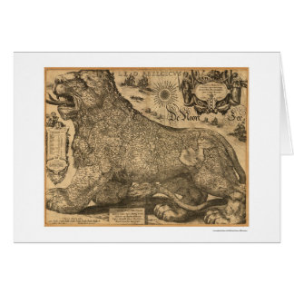 Mapa de Benelux Leo Belgicus de Europa 1611 Tarjeta De Felicitación