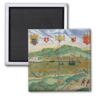 "Mapa de Bergen, de ""Civitates Orbis Terrarum"" cerc Imán De Frigorifico"