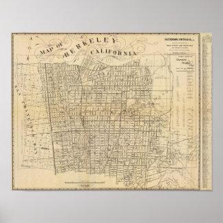 Mapa de Berkeley, California Póster