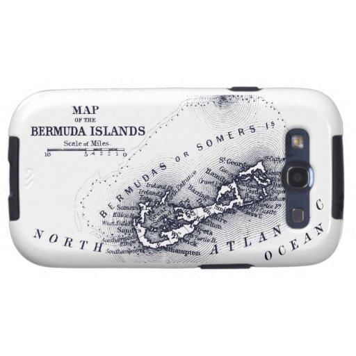 Mapa de Bermudas del vintage, azul marino Samsung Galaxy S3 Cobertura