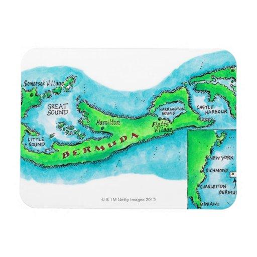 Mapa de Bermudas Iman Rectangular
