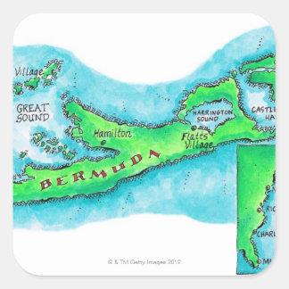 Mapa de Bermudas Calcomania Cuadradas Personalizadas