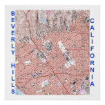 Mapa de Beverly Hills California en lona Poster