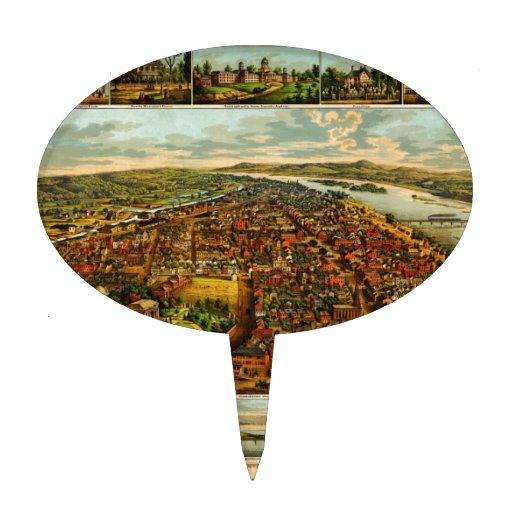 Mapa de Birdseye de Harrisburg, Pennsylvania (1855 Decoraciones Para Tartas