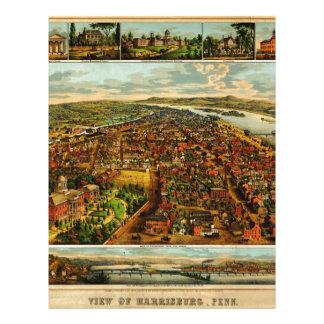 Mapa de Birdseye de Harrisburg, Pennsylvania (1855 Membrete