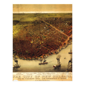 Mapa de Birdseye de New Orleans (1885) Plantillas De Membrete