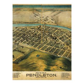 Mapa de Birdseye de Pendleton, Oregon (1890) Membrete