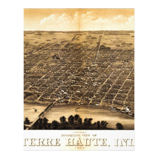 Mapa de Birdseye de Terre Haute (1880) Membrete