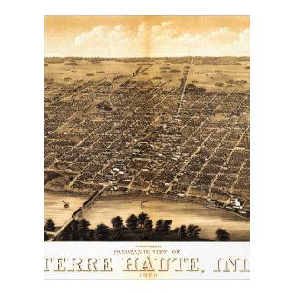Mapa de Birdseye de Terre Haute (1880) Plantillas De Membrete
