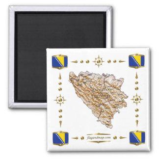 Mapa de Bosnia y Hercegovina + Imán de las bandera