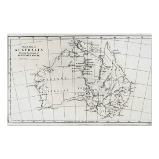 Mapa de bosquejo de Australia Póster