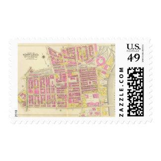 Mapa de Boston 13 Sello Postal
