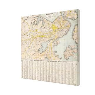 Mapa de Boston 2 Impresión En Lona Estirada