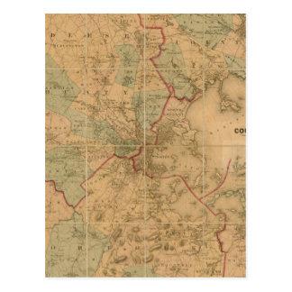 Mapa de Boston 2 Tarjetas Postales